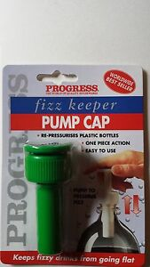 PUMP CAP FIZZ KEEPER FOR 1L/1.5L/2L BOTTLES *GREEN BNEW