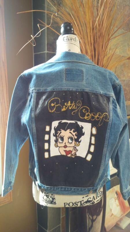 "Women Juniors ""Betty Boop"" Custom Painted Jean Jacket (XS/S)"