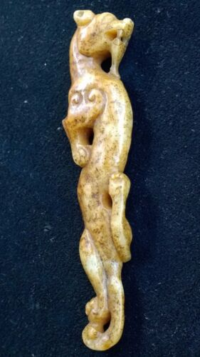 "Antique Nephrite Jade  Curling Dragon Amulet  Qing Dynasty 5"" Long."