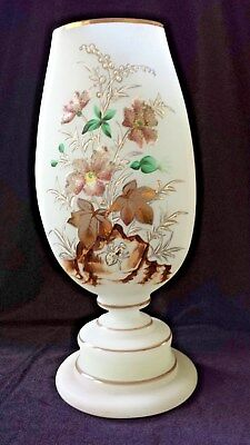 "Frosted Glass Bristol ? Vase 2 Sided Design Gold Trim 11"" Tall Unmarked"