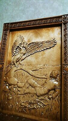 """Epic Wooden Carved picture """"mythic bird of paradise Gamayun""""  30"""" size."""