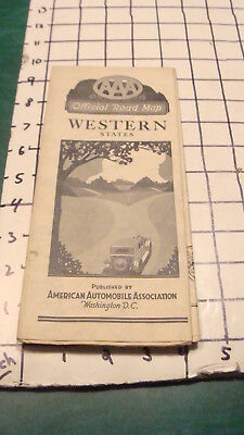Vintage MAP -- june 1927 --AAA -- WESTERN STATES