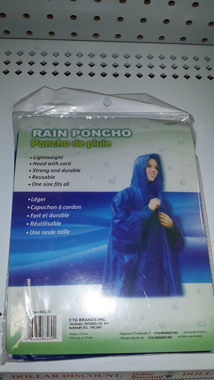 ADULT RAIN PONCHO LIGHTWEIGHT ONE SIZE BLUE REUSABLE; HOOD W