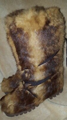 Women's Vintage rabbit fur Mammoth yeti eskimo mukluk fluffy winter snow boots 7](Fluffy Boots)