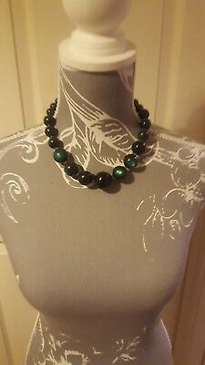 Used, Green Beaded Necklace Short Chunky Looks Clear Green in Certain Light for sale  Corby