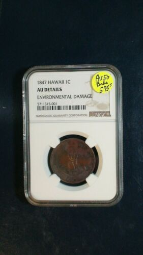 1847 KINGDOM OF HAWAII LARGE CENT NGC AU RARE 1C Coin PRICED TO SELL NOW!