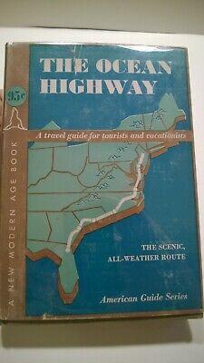 American Guide Series The Ocean Highway 1938 1st Edition Dust Jacket Map American Highways Series