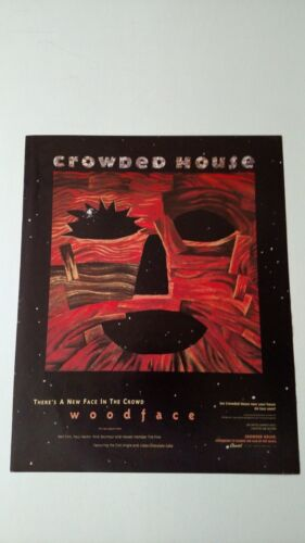 "CROWED HOUSE "" WOODFACE ""  (1991) RARE ORIGINAL PRINT PROMO POSTER AD"