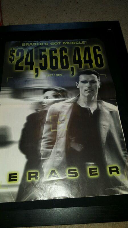 Eraser Schwarzenegger Rare Original Box Office Promo Poster Ad Framed!