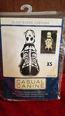 "CASUAL CANINE GLOW BONES HALLOWEEN COSTUME for XS Dog Toy 8"" LENGTH 2pcs NIP"
