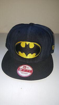 S14 NEW ERA 9fifty BLACK DENIM BATMAN LOGO SNAPBACK Baseball Cap * M/L