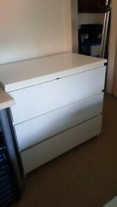 Three-door wardrobe, chest of draws, and IKEA double bed frame