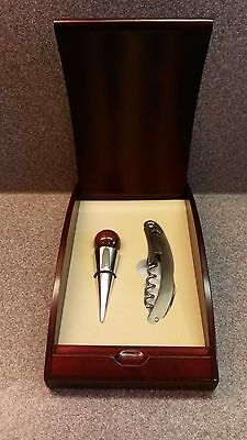 WOOD PRESENTATION BOX WINE ACCESSORY KIT STOPPER & CORKSCREW GUMPS