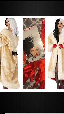 Evil CRUELLA DEVILLE Costume COAT Cigarette Holder 101 Dalmatians WIG GLOVES (Cruella Deville Costume Coat)