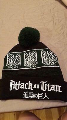 Attack on Titan Black & Green Scout Regiment Cap Hat Pom - Scout Regiment