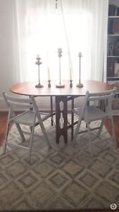 3 Folding Wood Chairs Painted White Shabby Chic $50 OBO