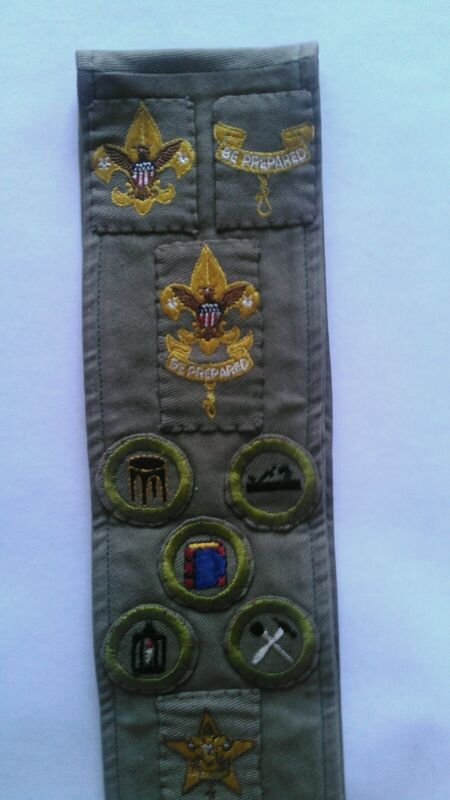 Vintage Boy Scout Merit Badge Sash With 5 Rank Badges