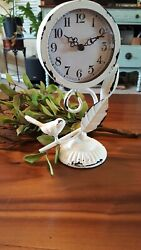 Distressed White Farmhouse Metal Table Top Mantle Bird Clock