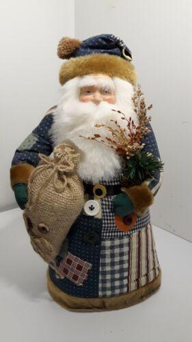 "Patchwork Santa Claus Tree Topper Figurine Christmas Old St Nicholas 14.5"""