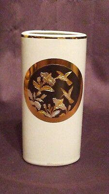 "The Art of Chokin 6"" Oval Hummingbird Flower Vase 24k Gold Edges"