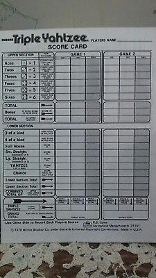 Triple Yahtzee Score sheet Pads 6 padsof 80 Dice Game 480 sheets total B&W cards