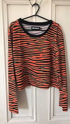 House Of Holland Cropped Top Long Sleeved T Shirt Tiger Animal Print Size 14