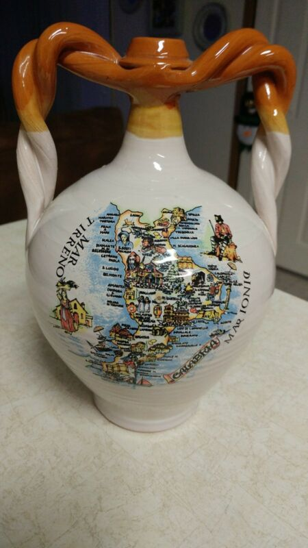 "Vintage 10"" High Handled Vase Italy Display Collector's Bottle Rare Unique FR SH"
