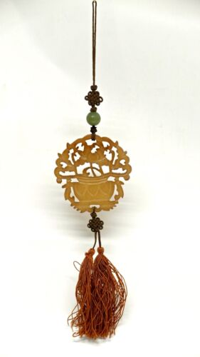 Chinese Carved Yellow Jade Pendant with a green Jade Bead & silk cord and tassel
