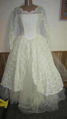 Vintage 50's Princess lace Overlay Tulle Wedding Dress