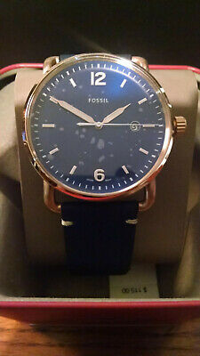 Fossil Commuter Blue Dial Navy Blue Leather Men's Watch FS5274