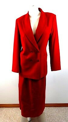 (SAKS 5TH AVE WOMENS RED WOOL SKIRT SUIT SIZE 10)