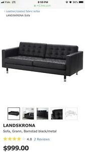 One Year-Old LANDSKRONA Black Leather Sofa