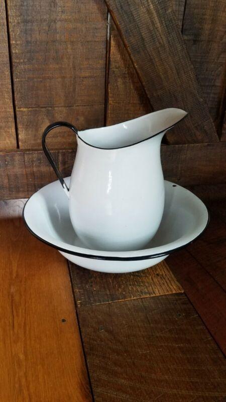 Antique  White Graniteware Enamelware 3 Qt Pitcher &  Bowl/W Black Handle & Trim