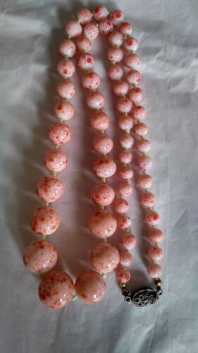 vtg chinese export pink peking glass graduated bead necklace 800 silver clasp