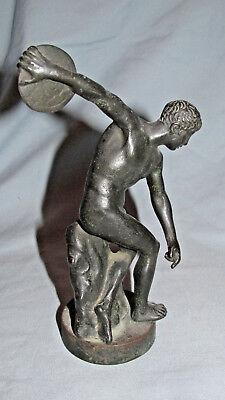 Victorian Grand Tour Souvenir Nude Male Bronze - Roman Man Youth Discus (Roman Bronze Discus)