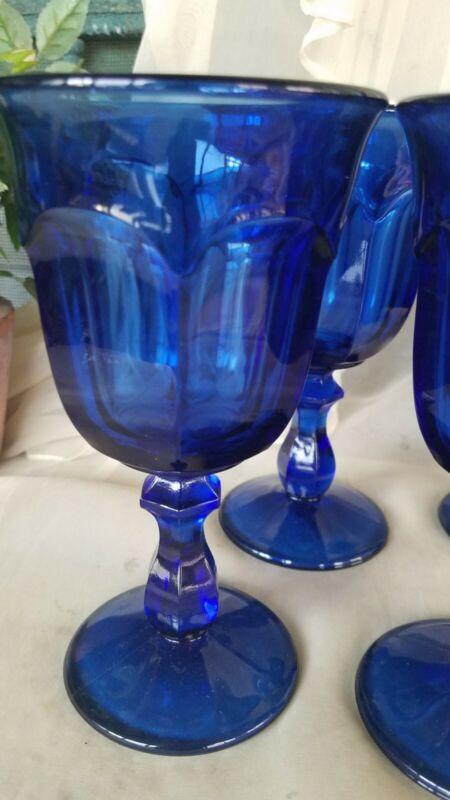 """(4) OLD WILLIAMSBURG - DEEP BLUE - 6.5"""" GOBLETS 8 oz"""