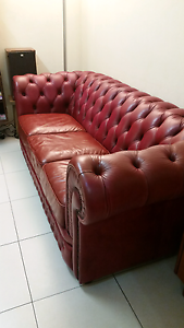 Stunning 3 seat winetone blood leather chesterfield sofa lounge New Farm Brisbane North East Preview