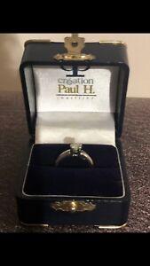 Bague de fiançailles or blanc 14k 1 diamant de 0,67k