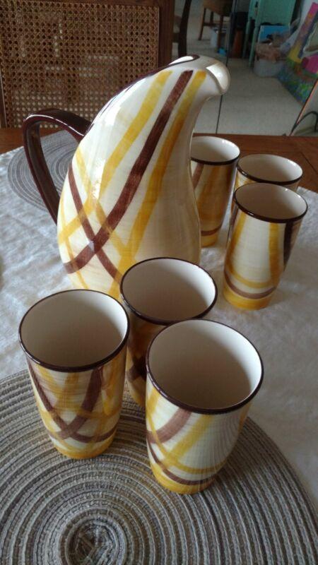 Vernonware..vintage lemonade set ..Organdie