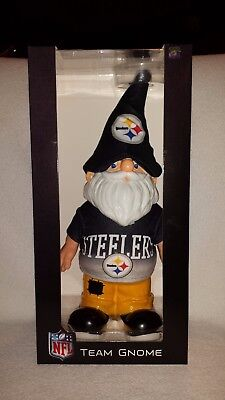 (NEW NFL PITTSBURGH STEELERS TEAM GNOME NIB BY FOREVER COLLECTIBLES 12 INCH TALL)