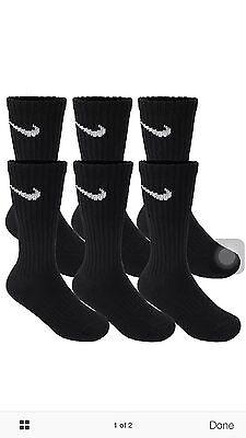 NIKE 6 PAIR NEW SOCKS BLACK CREW MEN'S SIZE L 8-12 PERFORMANCE CUSHIONED