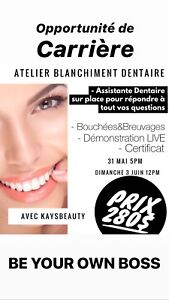 ATELIER/FORMATION BLANCHIMENT DENTAIRE 280$