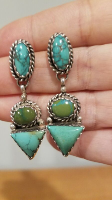 """NEW/Vintage Navajo 3 stone sterling/turquoise earrings, Pat """"PP"""" Platero, 1997"""