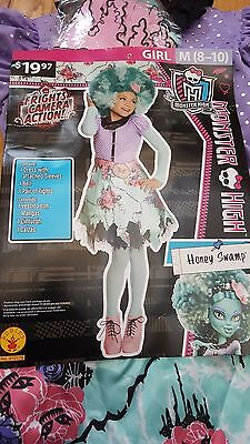 HALLOWEEN COSTUME Monster High Honey Swamp Girl M 8-10 Dress Belt Tights Cute