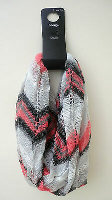 BNWT GEORGE Multi Colours -Grey/Pink/Black/Metallic Thread Soft Snood. One Size.