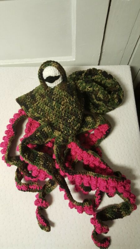 Crochet Octopus Hat. Handmade each order. Custom colors. One size fits most.