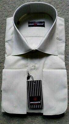 Klassisches Herren Anzug Hemd langer Arm für Manschettenknöpfe Creme Gr.39 OVP
