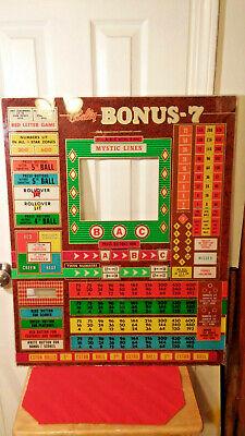 "Vintage Bally ""Bonus -7"" Bingo Pinball Machine Glass Backboard"