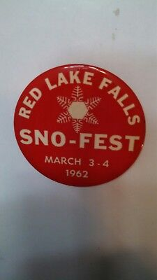 Vintage Collectible Button Pin Back Sno-Fest Red Lake Falls 1962 Nice!