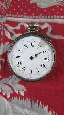 Old Watch Gusset 19th Silver To Key Key 8 Ruby 58